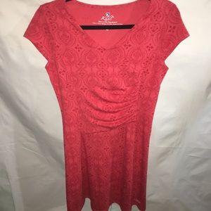 KÜHL red shortsleeve midi knit patterned dress XS